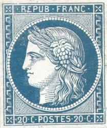 France : 20c bleu sur jaunâtre Cérès (non-émis)
