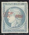 France : 25c sur 20c bleu type Cérès (non-émis)
